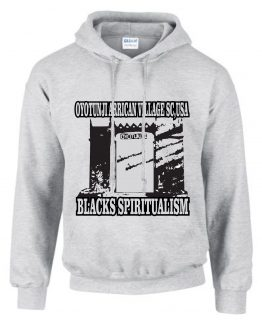 OYOTUNJI AFRICAN VILLAGE GATE BLACKS SPIRITUALISM ASH HOODED SWEAT SHIRT
