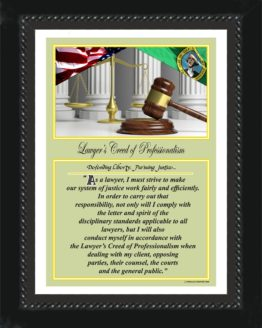 WASHINGTON STATE LAWYER'S CREED BLACK 1 PRINTS